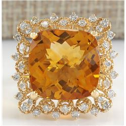 13.50 CTW Natural Citrine And Diamond Ring In 14K Yellow Gold