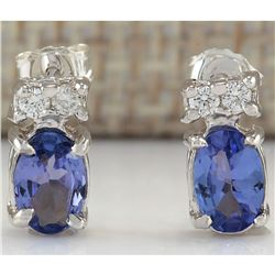 1.72 CTW Natural Tanzanite And Diamond Earrings 14K Solid White Gold