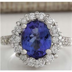 4.68 CTW Natural Blue Tanzanite And Diamond Ring 14K Solid White Gold