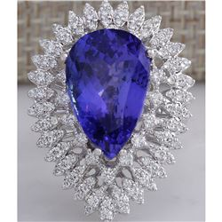 11.42 CTW Natural Blue Tanzanite And Diamond Ring In 18K White Gold Aaa