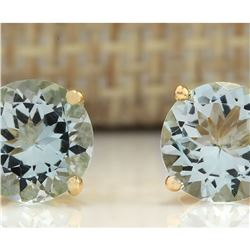 3.00 CTW Natural Blue Aquamarine Earrings 18K Solid Yellow Gold