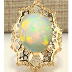 8.92 CTW Natural Opal And Diamond Ring In 14k Yellow Gold