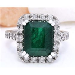 5.82 CTW Natural Emerald 18K Solid White Gold Diamond Ring