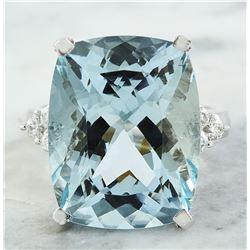 17.16 CTW Aquamarine 18K White Gold Diamond Ring