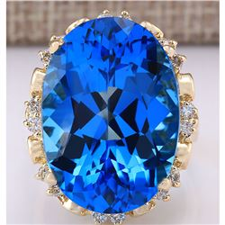 30.50 CTW Natural Topaz And Diamond Ring In 18K Yellow Gold