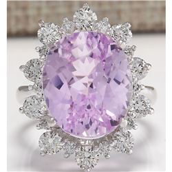 17.88 CTW Natural Kunzite And Diamond Ring 18K Solid White Gold