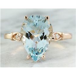 3.60 CTW Aquamarine 14K Rose Gold Diamond Ring