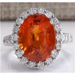 11.41CTW Natural Mandarin Garnet And Diamond Ring In18K White Gold