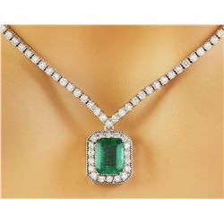 5.62 CTW Emerald 14K White Gold Diamond Necklace