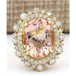 10.15 CTW Natural Morganite 14K Solid Yellow Gold Diamond Ring