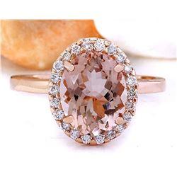 2.87 CTW Natural Morganite 14K Solid Rose Gold Diamond Ring