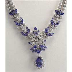 19.42 CTW Natural Tanzanite And Diamond Necklace In 14K White Gold