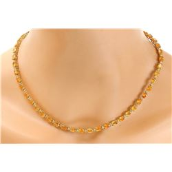 41.25 CTW Natural Citrine 14K Solid Yellow Gold Diamond Necklace