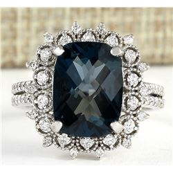 7.42 CTW Natural London Blue Topaz And Diamond Ring In18K Solid White Gold