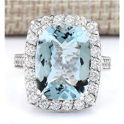 9.36 CTW Natural Aquamarine And Diamond Ring In 18K White Gold