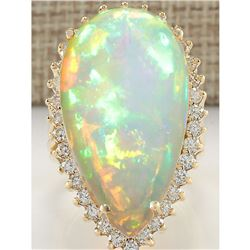 19.42 CTW Natural Opal And Diamond Ring In 14K Yellow Gold