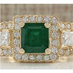 3.93 CTW Natural Emerald And Diamond Ring In 14K Yellow Gold