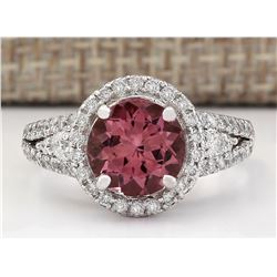 2.79 CTW Natural Pink Tourmaline And Diamond Ring 18K Solid White Gold