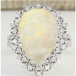 4.93 CTW Natural Opal And Diamond Ring In14k White Gold