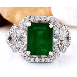 4.43 CTW Natural Emerald 18K Solid White Gold Diamond Ring