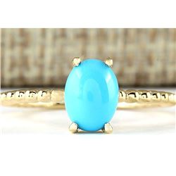 1.20 CTW Natural Turquoise Ring In 14k Yellow Gold