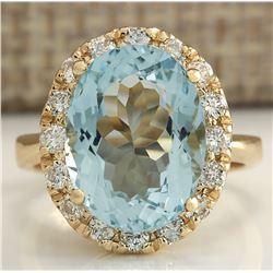 5.32 CTW Natural Aquamarine And Diamond Ring 18K Solid Yellow Gold