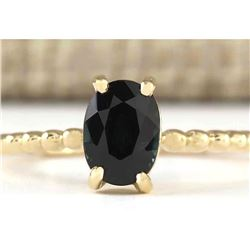 1.00 CTW Natural Blue Sapphire Ring 18K Solid Yellow Gold