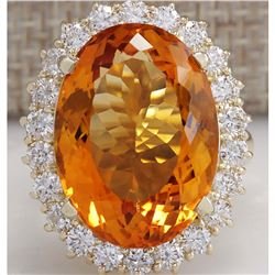 17.91 CTW Natural Citrine And Diamond Ring In 18K Solid Yellow Gold
