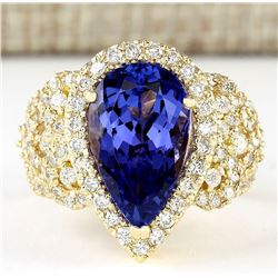 6.75 CTW Natural Blue Tanzanite And Diamond Ring 18K Solid Yellow Gold