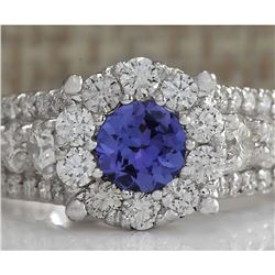 2.36 CTW Natural Blue Tanzanite And Diamond Ring In 18K Solid White Gold