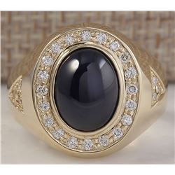 5.90 CTW Natural Blue Mens Sapphire And Diamond Ring In 14k Yellow Gold