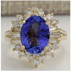 4.62 CTW Natural Blue Tanzanite And Diamond Ring 18K Solid Yellow Gold
