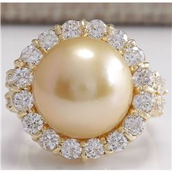 2.00 CTW Natural 13.18Mm Gold South Sea Pearl Diamond Ring 18K Yellow Gold