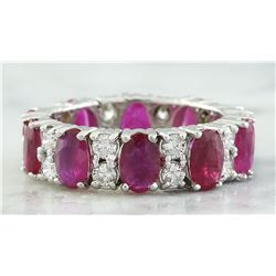 7.50 CTW Ruby 18K White Gold Diamond Eternity Ring