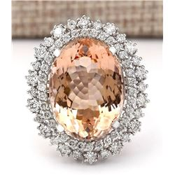 16.60 CTW Natural Morganite And Diamond Ring In 14k White Gold