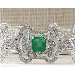 12.0 CTW Natural Colombian Emerald And Diamond Bracelet In 18K White Gold