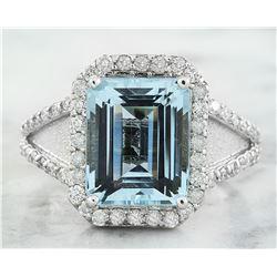 5.90 CTW Aquamarine 18K White Gold Diamond Ring