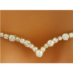 14.10 CTW Natural Diamond 18K Solid Yellow Gold Necklace