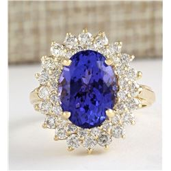 7.26 CTW Natural Tanzanite And Diamond Ring In 18K Yellow Gold
