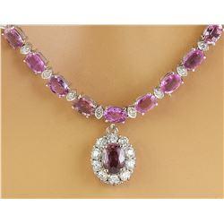 32.40 CTW Sapphire 18K White Gold Diamond Necklace