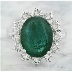 7.20 CTW Emerald 14K White Gold Diamond Ring