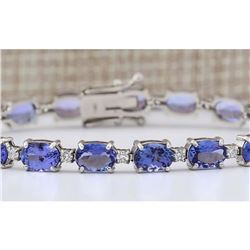 20.30 CTW Natural Tanzanite And Diamond Bracelet In 14k Solid White Gold