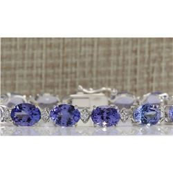 23.35 CTW Natural Tanzanite And Dimond Bracelet In 18K Solid White Gold