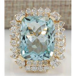 9.51 CTW Natural Aquamarine And Diamond Ring 18K Solid Yellow Gold