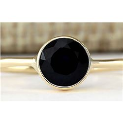 1.00 CTW Natural Blue Sapphire Ring In 14k Yellow Gold