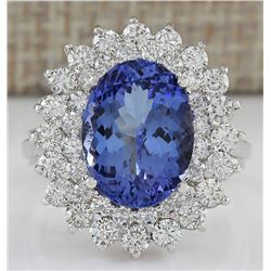 5.72 CTW Natural Blue Tanzanite And Diamond Ring 18K Solid White Gold