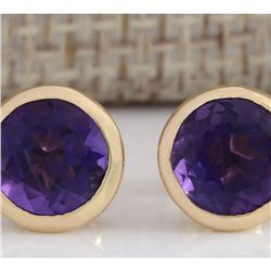 3.00 CTW Natural Amethyst Earrings 18K Solid Yellow Gold