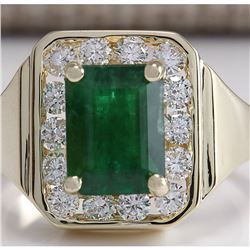 MENS 3.16 CTW Natural Emerald And Diamond Ring 14K Solid Yellow Gold