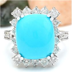 9.36 CTW Natural Turquoise 18K Solid White Gold Diamond Ring