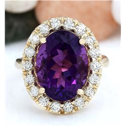 8.40 CTW Natural Amethyst 14K Solid Yellow Gold Diamond Ring